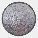 Piedra azteca moderna de Sun Etiquetas Redondas