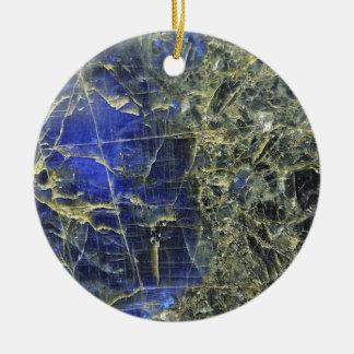 Piedra azul adorno navideño redondo de cerámica