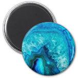 Piedra azul del mineral de Geode de la turquesa de Imán Redondo 5 Cm
