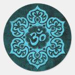 Piedra azul OM floral Pegatina