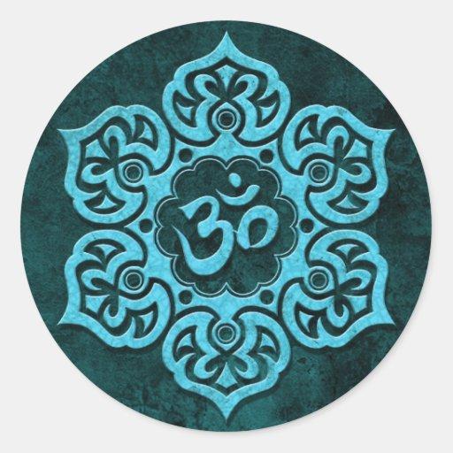 Piedra azul OM floral Pegatina Redonda