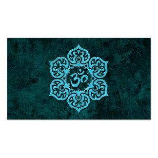 Piedra azul OM floral Tarjeta De Visita