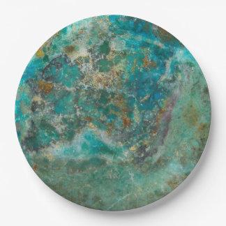 Piedra azul plato de papel de 9 pulgadas