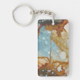 Piedra colorida del jaspe llavero rectangular acrílico a doble cara