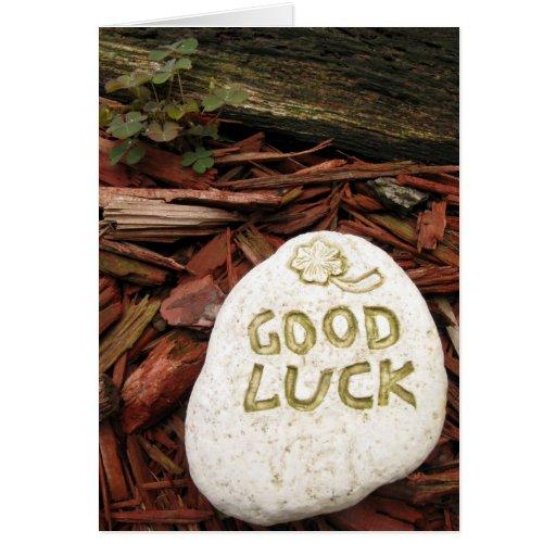 Piedra de la buena suerte tarjeta de felicitación