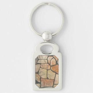 Piedra decorativa que pavimenta mirada llavero plateado rectangular