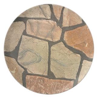 Piedra decorativa que pavimenta mirada platos
