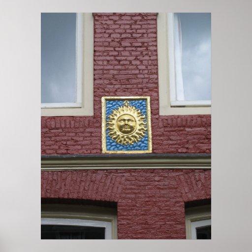 "Piedra poster del aguilón de Amsterdam de ""Zon"" ("""