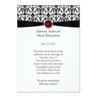 """Piedra preciosa de rubíes del damasco blanco negro invitación 5"""" x 7"""""""