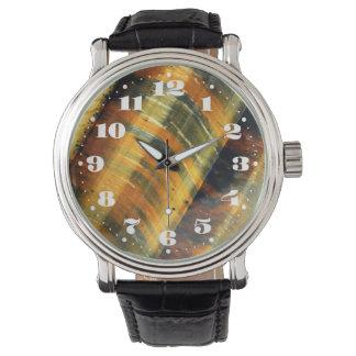 Piedra preciosa del ojo del tigre con números relojes