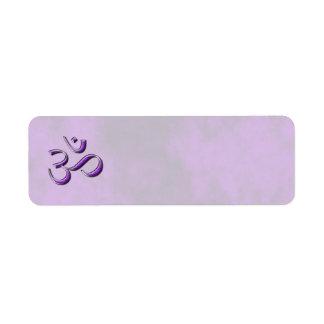 Piedra púrpura OM Etiqueta De Remite