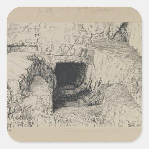 Piedra redonda de James Tissot- vista del exterior Pegatina Cuadrada