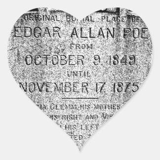 Piedra sepulcral de Edgar Allan Poe. Imágenes Pegatina Corazón