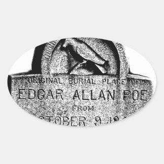 Piedra sepulcral de Edgar Allan Poe. Imágenes Pegatina Ovalada