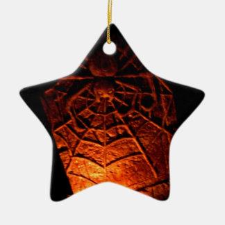Piedra sepulcral de la araña adorno navideño de cerámica en forma de estrella