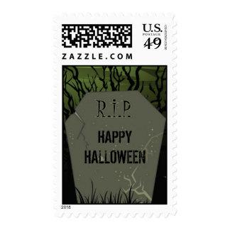 Piedra sepulcral del feliz Halloween Sello