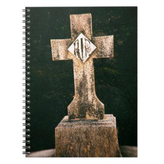 Piedra sepulcral del vintage libro de apuntes