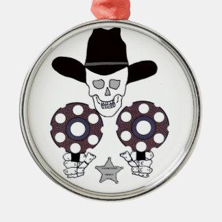 piedra sepulcral doble del sheriff del arma adorno navideño redondo de metal
