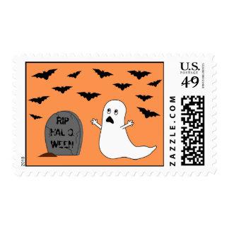 Piedra sepulcral, fantasma y palos (fondo sello
