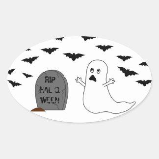 Piedra sepulcral, fantasma y palos - Halloween Pegatina Ovalada