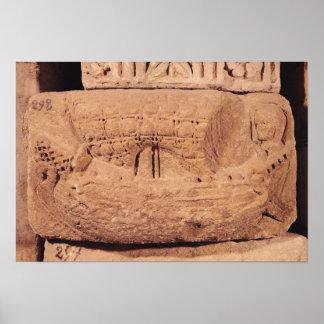 Piedra sepulcral que representa un barco de pesca impresiones