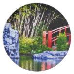 Piedra y puente japoneses plato para fiesta