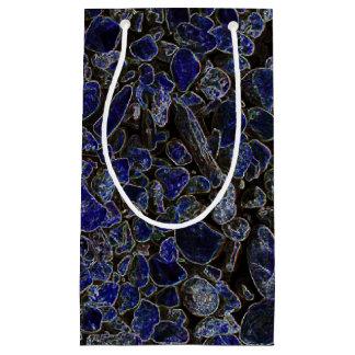 Piedras azules del zafiro con resplandor radiante bolsa de regalo pequeña