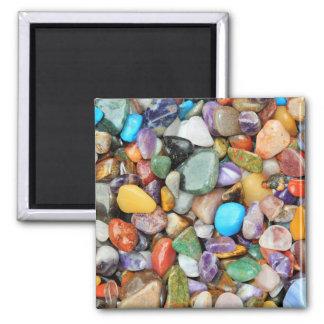 Piedras coloridas, guijarros, rocas imán cuadrado