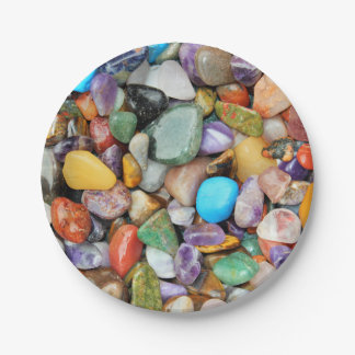 Piedras coloridas, guijarros, rocas plato de papel de 7 pulgadas