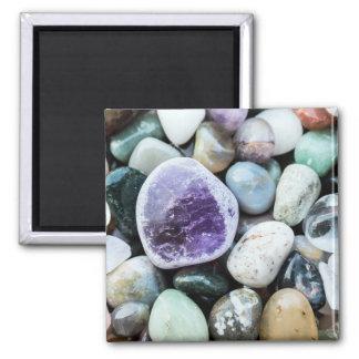 Piedras coloridas imán cuadrado