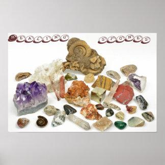 Piedras curativas, ametyst, cuarzo, ópalo, tourmal posters