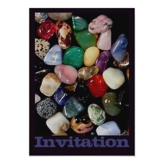 Piedras de gema coloridas invitación 12,7 x 17,8 cm