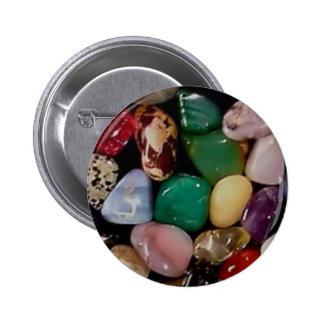 Piedras de gema coloridas pin redondo de 2 pulgadas