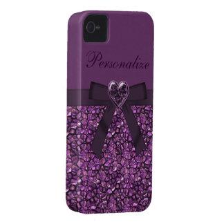 Piedras de gema y joya impresas púrpura del Case-Mate iPhone 4 cobertura