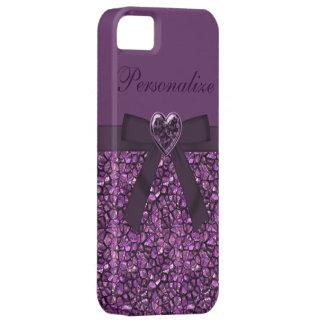 Piedras de gema y joya púrpuras impresas del coraz iPhone 5 cobertura