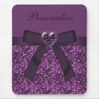 Piedras de gema y joya púrpuras impresas del mousepad