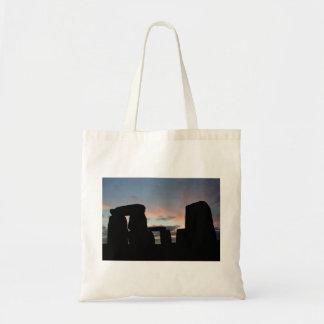 Piedras de la puesta del sol bolsa lienzo