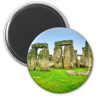 Piedras derechas antiguas de Stonehenge en arte Imán Redondo 5 Cm