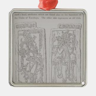 Piedras esculpidas del 'templo del adorno navideño cuadrado de metal