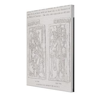 Piedras esculpidas del templo del impresión en lienzo estirada