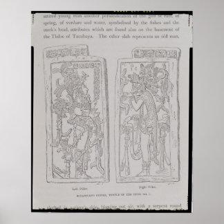 Piedras esculpidas del templo del posters