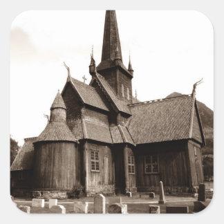 Piedras graves de la yarda de la iglesia gótica de pegatina cuadrada