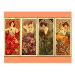 Piedras preciosas - nouveau del arte tarjeta postal