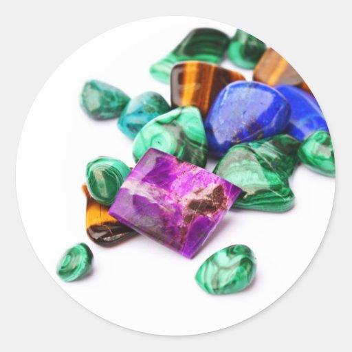 Piedras preciosas pegatina redonda