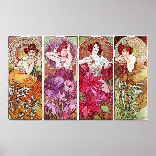 Piedras preciosas y flores, Alfonso Mucha Posters