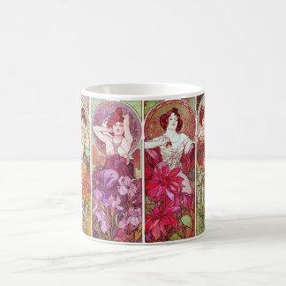Piedras preciosas y flores, Alfonso Mucha Tazas De Café