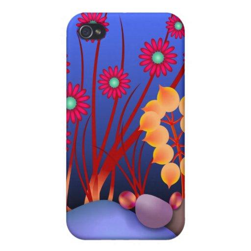 Piedras y flores iPhone 4/4S carcasa