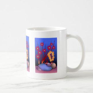Piedras y flores taza de café