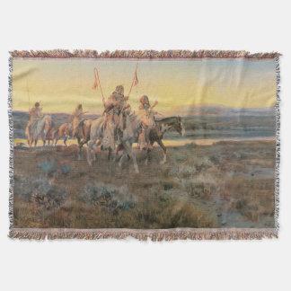Piegans by CM Russell, Vintage Native Americans Throw Blanket