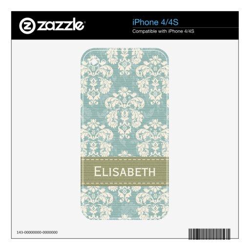 Piel 4/4s del iPhone del damasco del verde azul Skins Para iPhone 4S